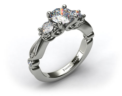 Platinum Diamond Scroll Engagement Ring